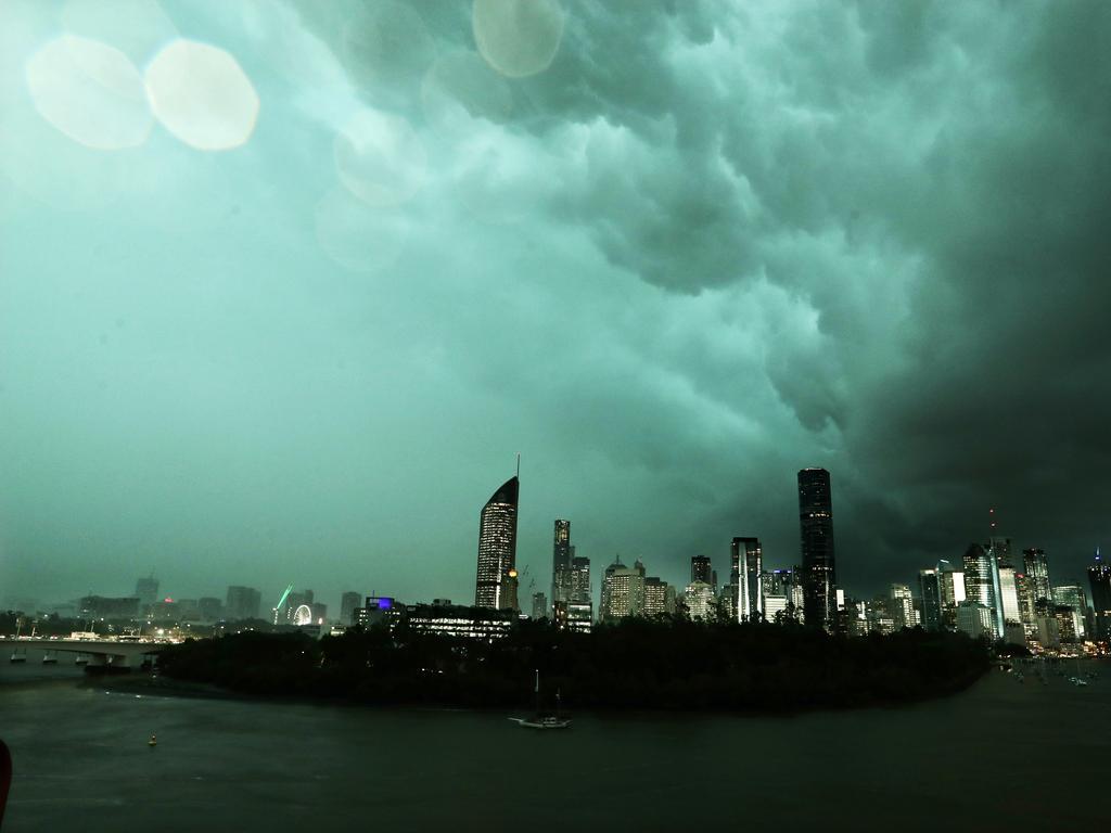 Green storm cloud over Brisbane CBD skyline from Kangaroo Point. Photo - Liam Kidston