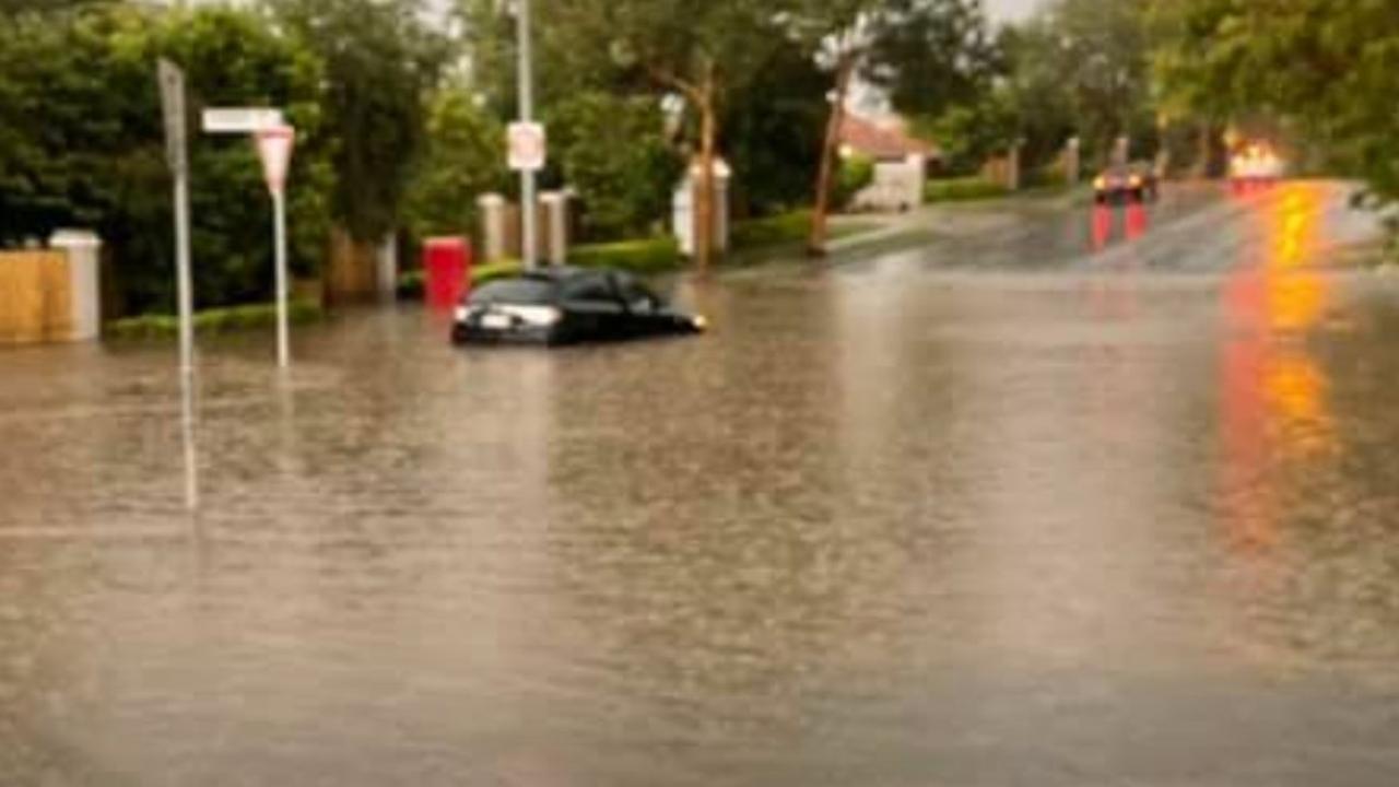 Flash flooding at Westlake in Brisbane's southwest. Picture via 10 News