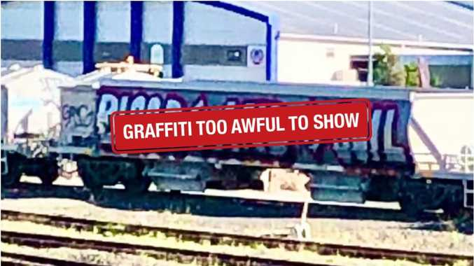 Nazi graffiti painted over train on busy line
