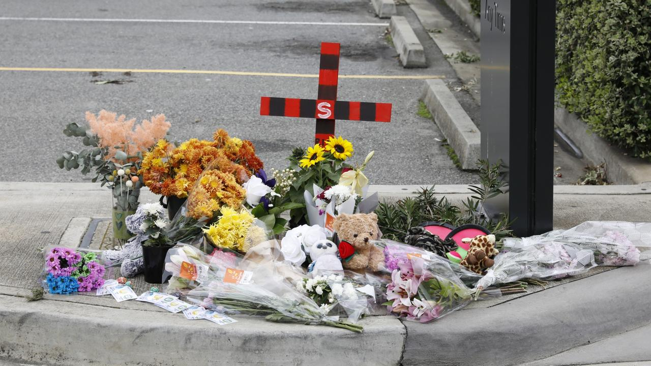 A growing pile of tributes left at the scene of the tragedy in Port Lincoln. Picture: Robert Lang