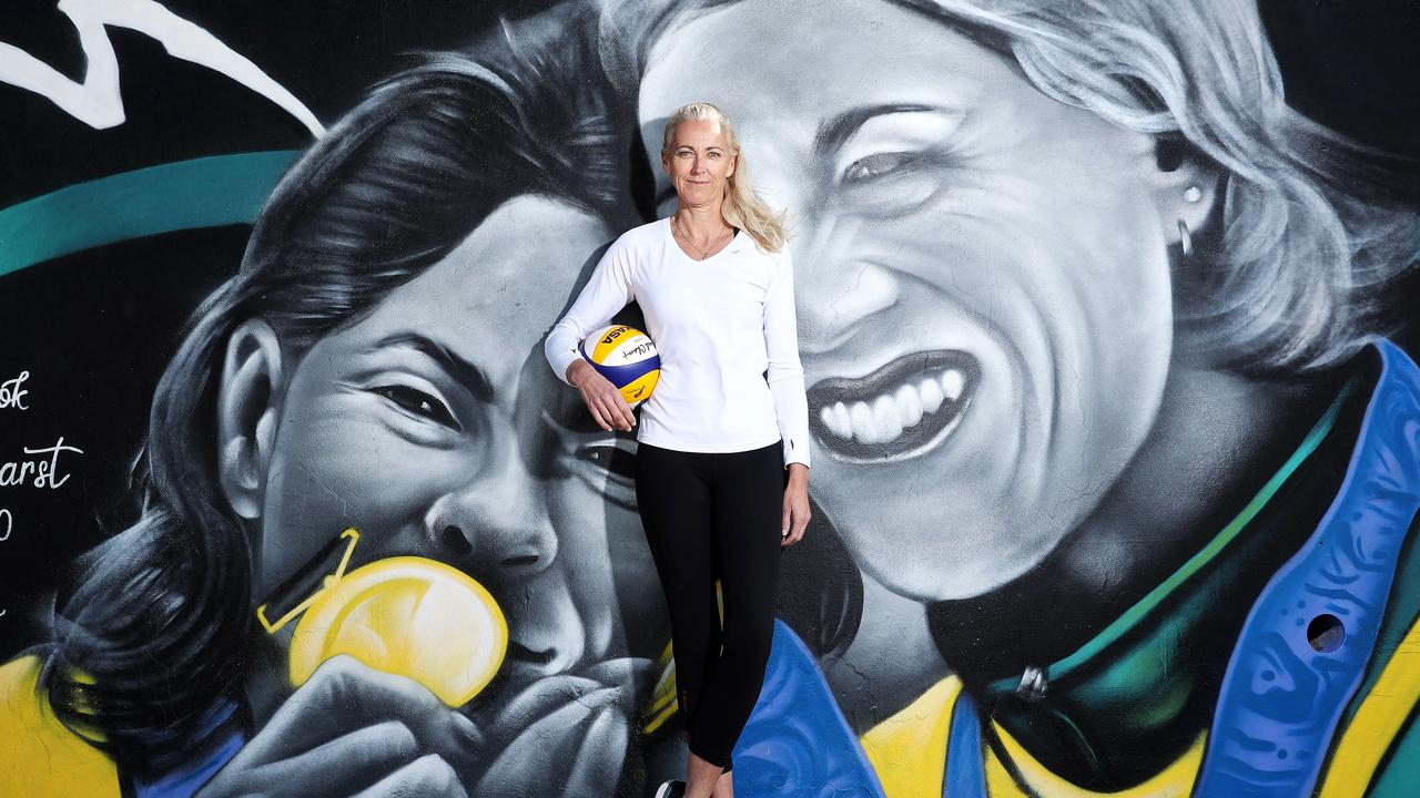 Kerry Pottharst stands in front of the mural painted in her honour. Picture: Tim Hunter.