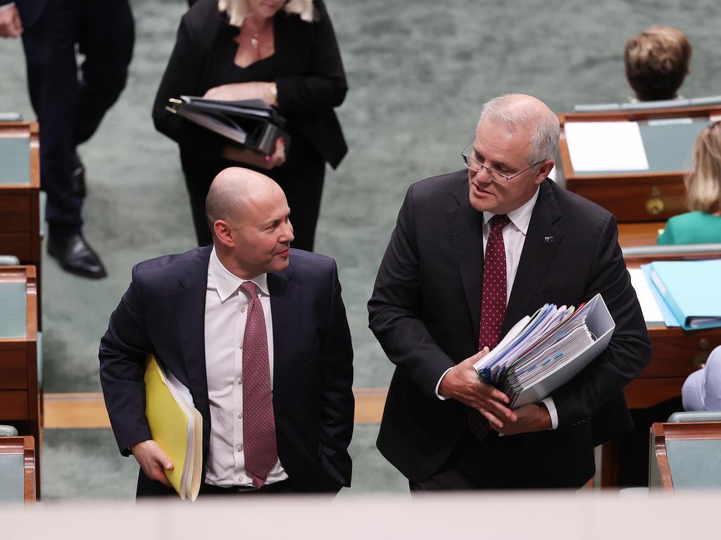 Treasurer Josh Frydenberg with Scott Morrison in Canberra. Picture: Gary Ramage