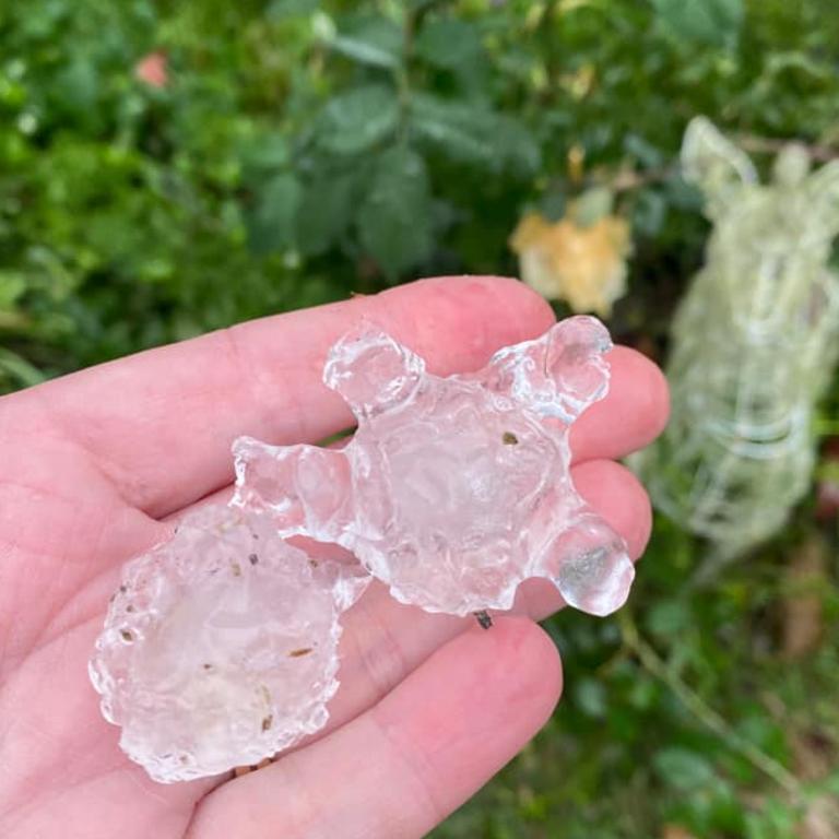 Hail at Mt Mee northwest of Brisbane. Picture: Liz Wilson-Barnett/Facebook