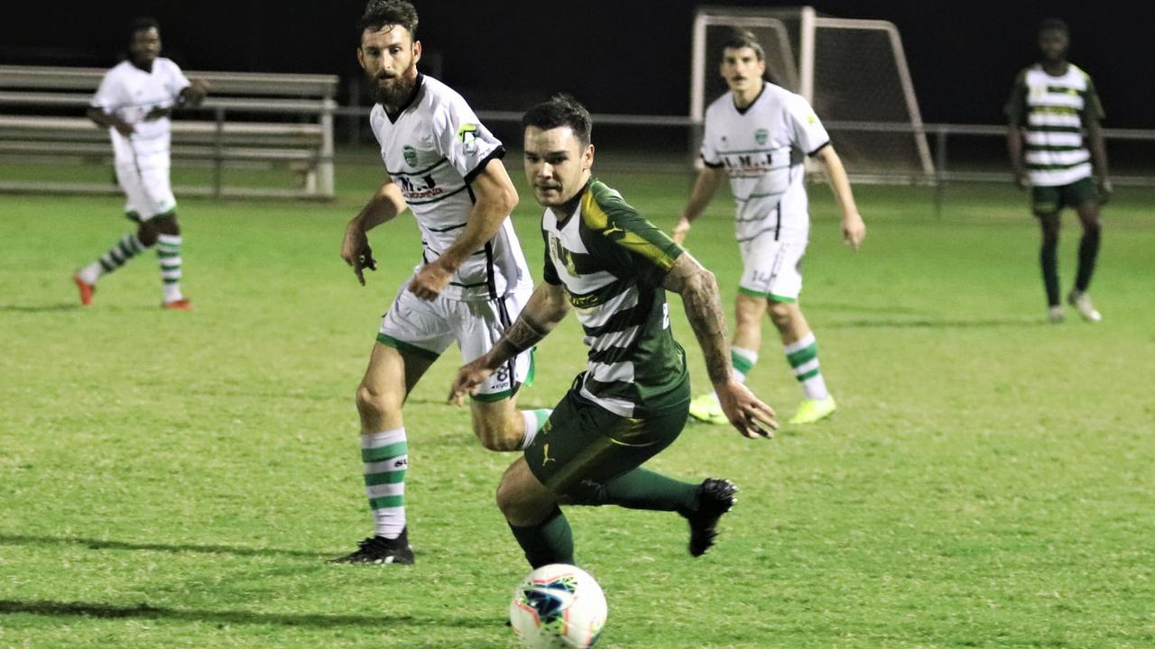 Western Pride footballer Kelton Scriggins playing against Souths United in the Football Queensland Premier League 1 match at the Briggs Road Sporting Complex. Picture: Christina Moran