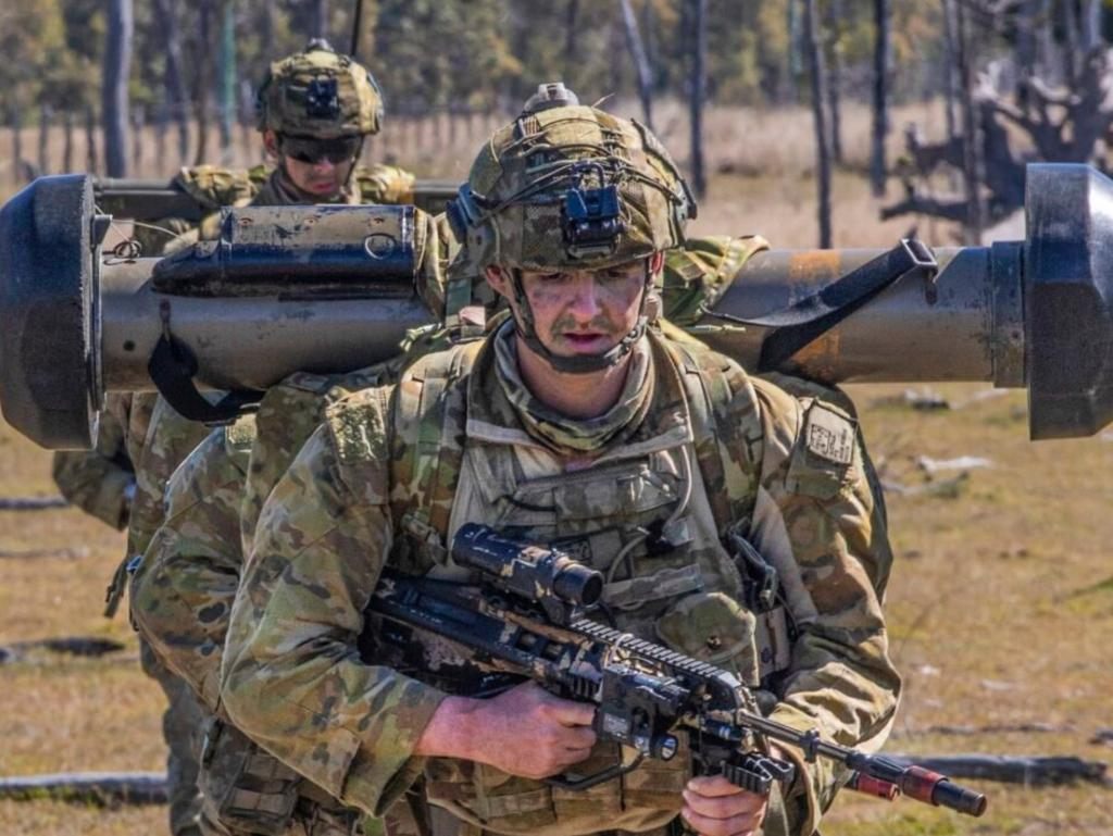 Australian Army Private Jacob Hosking, from the 2nd Battalion, The Royal Australian Regiment, packs his Javelin Anti-Tank Guided Missile during a patrol in the field near Stanage Bay during Exercise Talisman Sabre 2019. Picture: Sgt. 1st Class Whitney C. Houston/US Army
