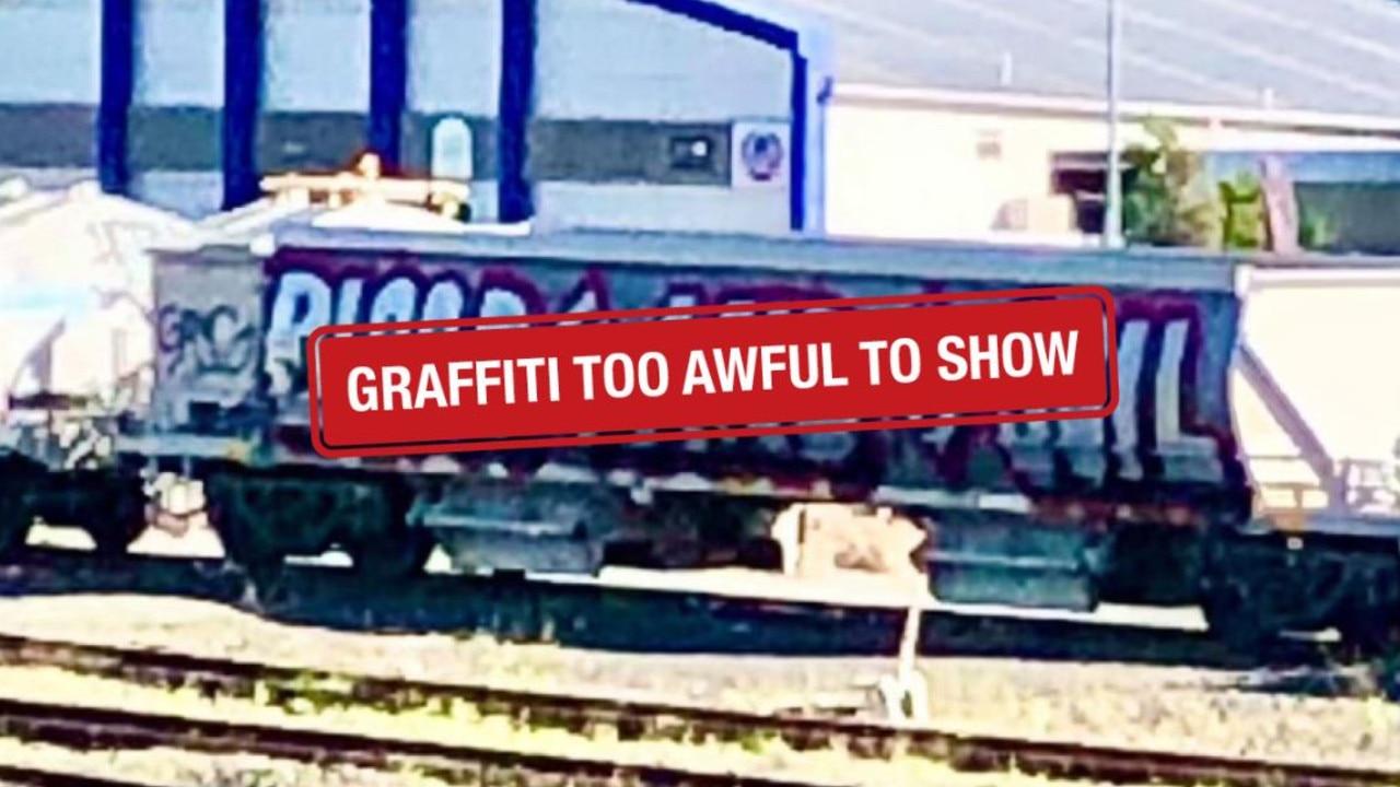 Hateful graffiti on a train carriage at Moorooka.