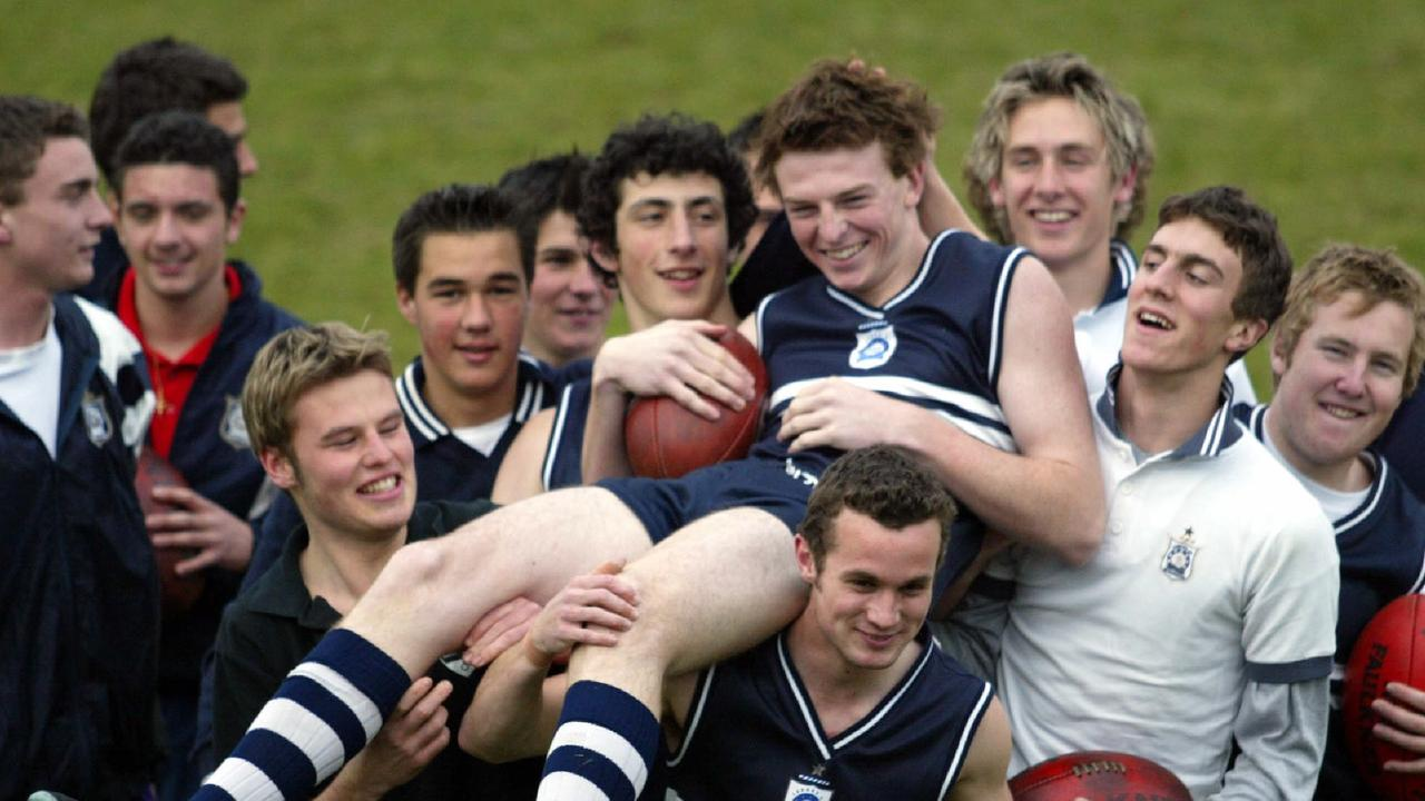 Brendon Goddard with his Caulfield Grammar teammates during his draft year. Picture: Michael Dodge