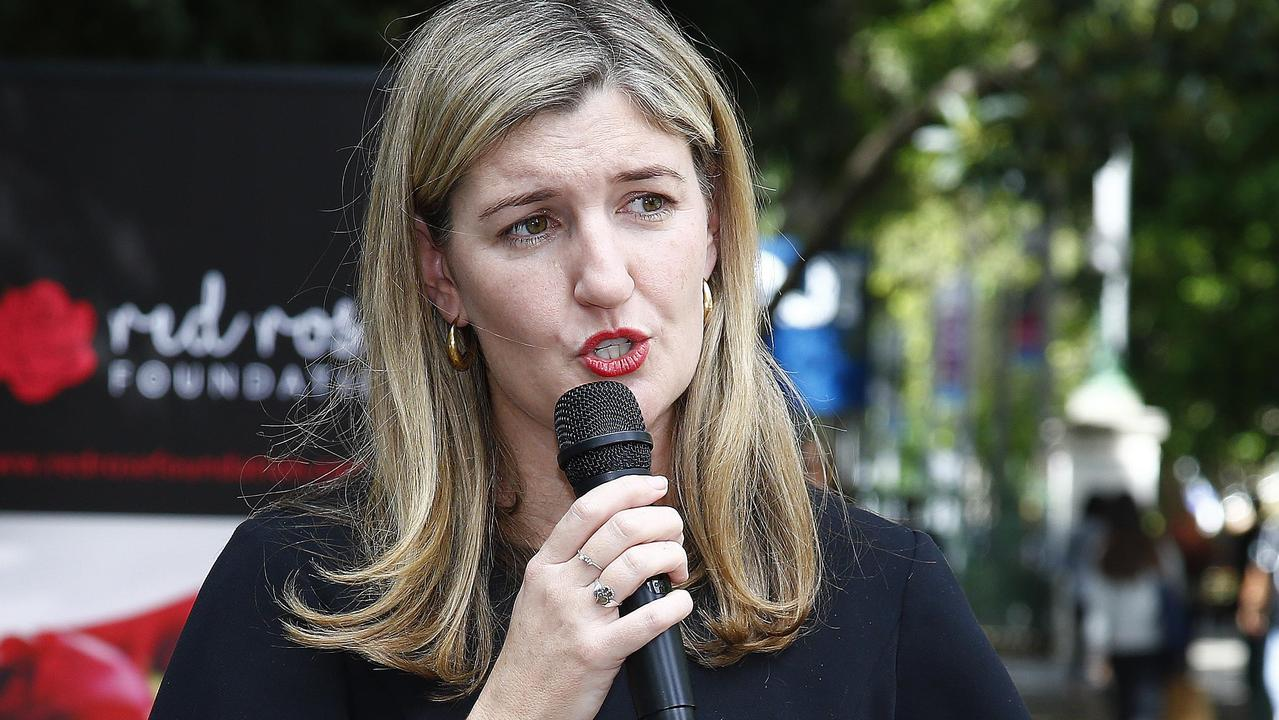 Queensland Attorney-General Shannon Fentiman addresses a rally for domestic violence victims in Brisbane last month. Picture: NCA NewsWire/Tertius Pickard