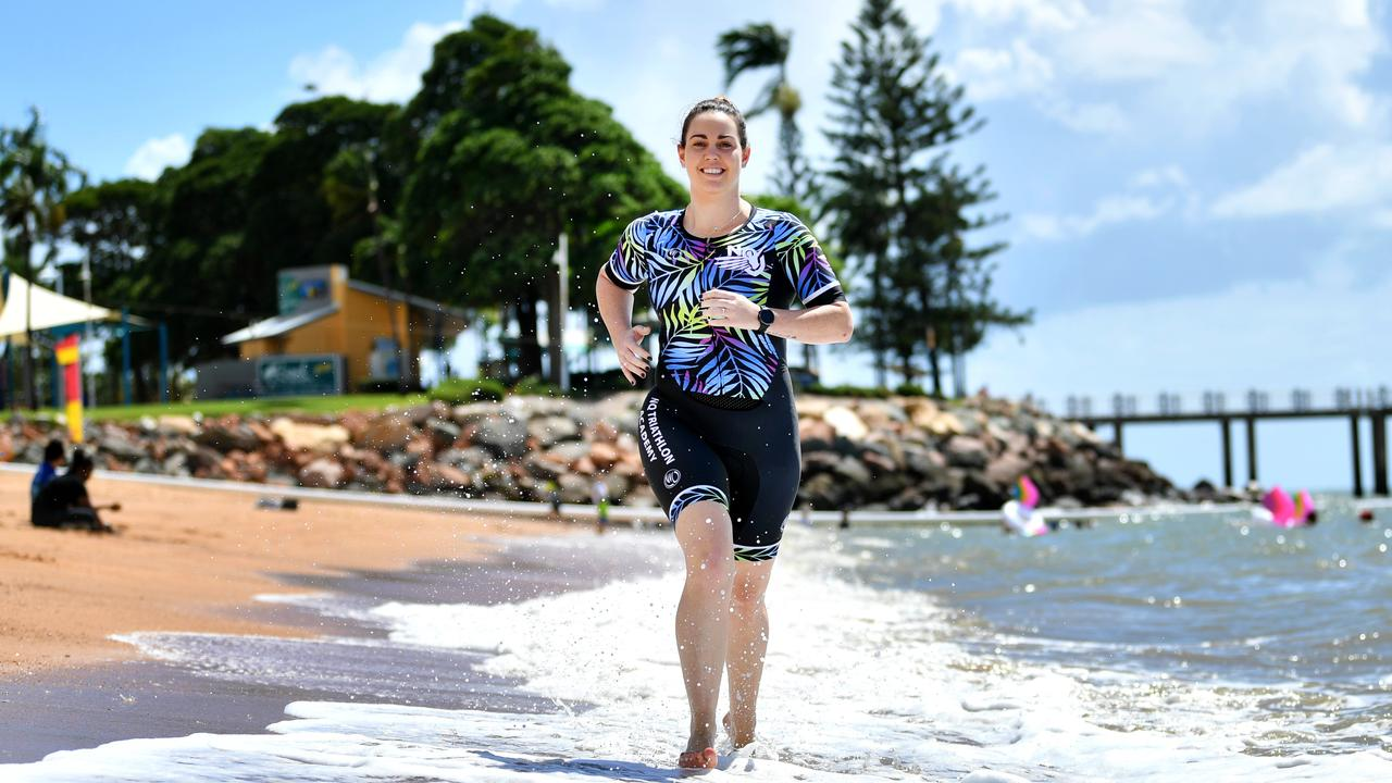 Townsville Triathlon and Multisport Festival competitor Brittany Saunders at North Ward, which boasts magnificent ocean frontage. Picture: Alix Sweeney