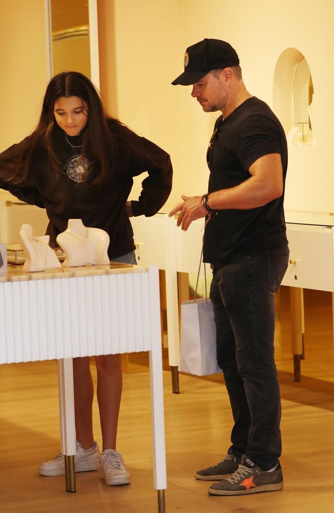 Matt Damon shopping at a jewellery store in Brisbane on Saturday. Picture: Annette Dew