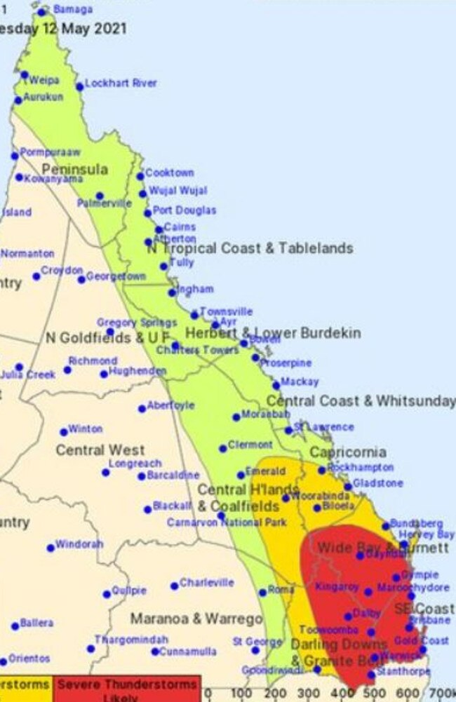 Queensland storm warnings stretch for almost 3000km on Wednesday.