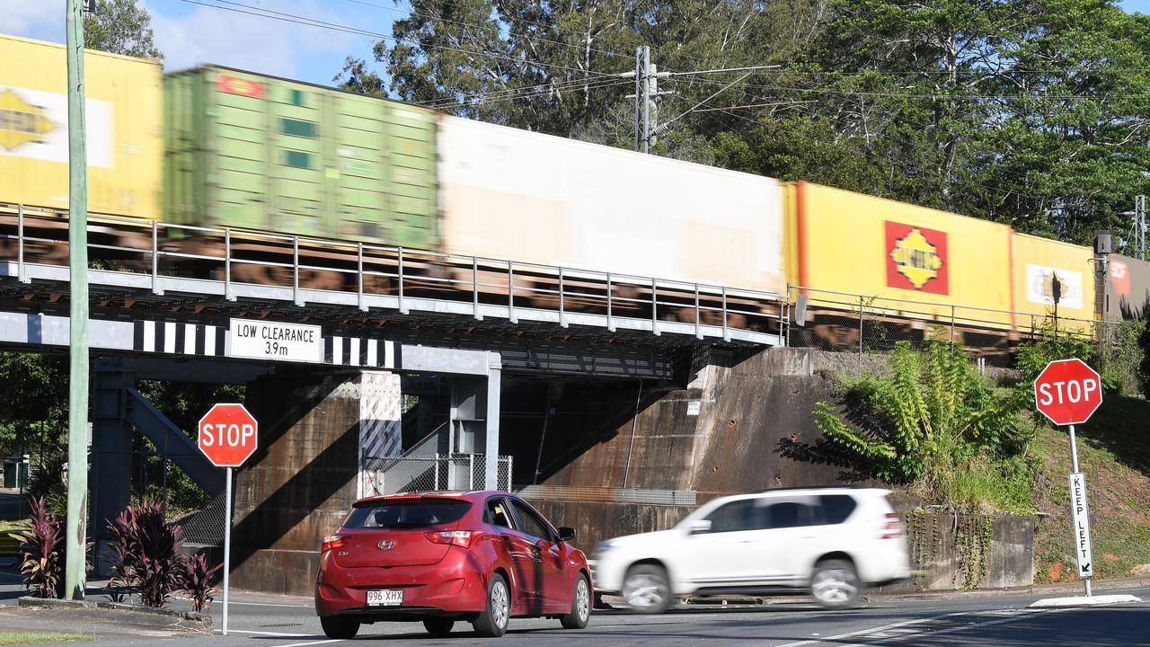 Palmwoods rail bridge on Woombye Palmwoods Road. Picture: Patrick Woods