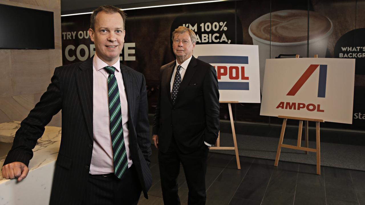 Ampol CEO Matt Halliday, left, and chairman Steven Gregg. Picture: Adam Yip