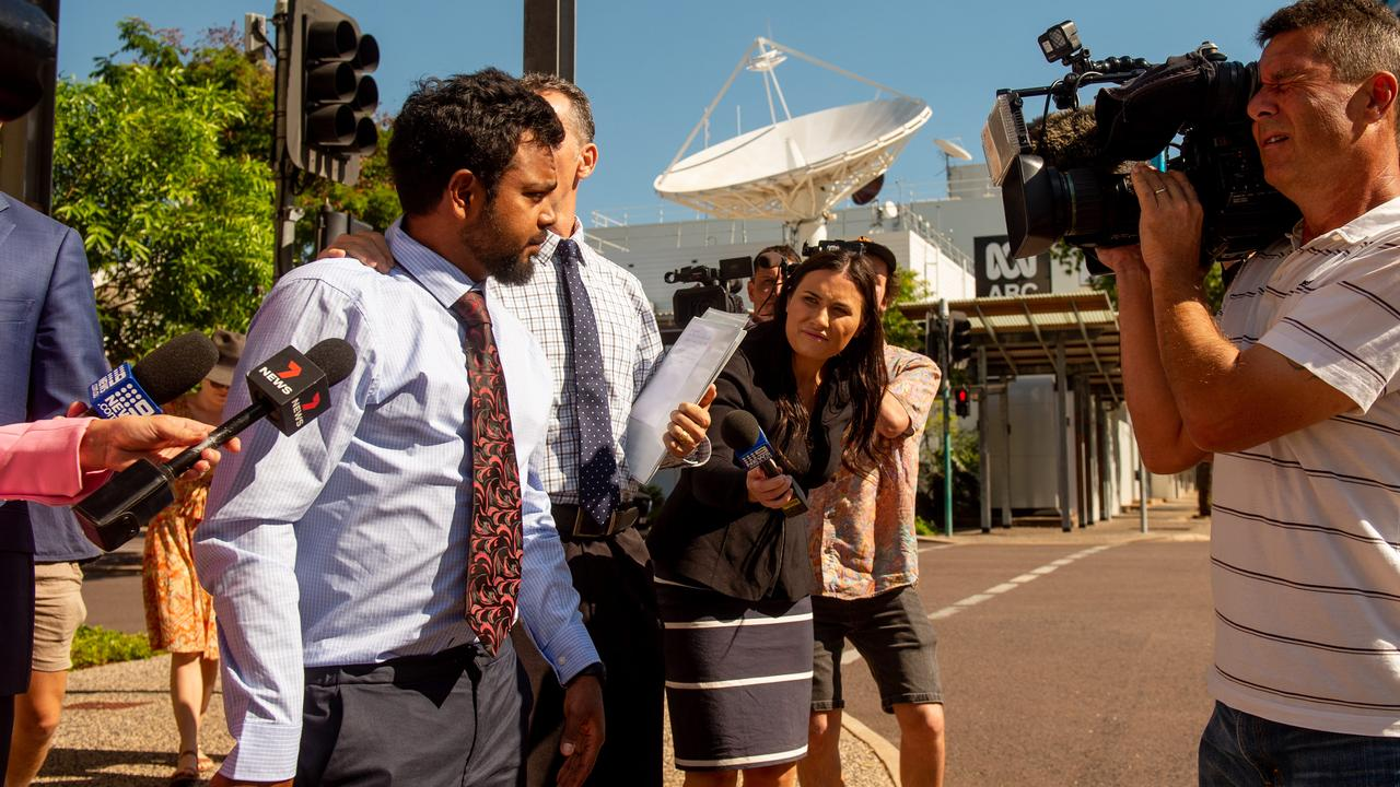 Footballer Willie Rioli leaves Darwin Local Court after allegedly being caught with cannabis while flying from Darwin to the Tiwi Islands. Picture: Che Chorley