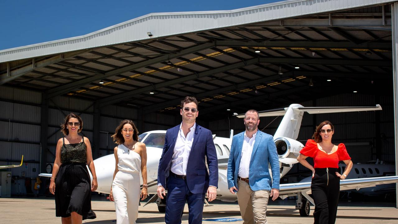 Rafe Berding (centre) will join fellow high-flyers (from left) Caralee Fontenele, Marguerite O'Sullivan, Andrew Reid, and Francesca Webster in the Dancing CEOs competition to raise money for domestic violence victims.
