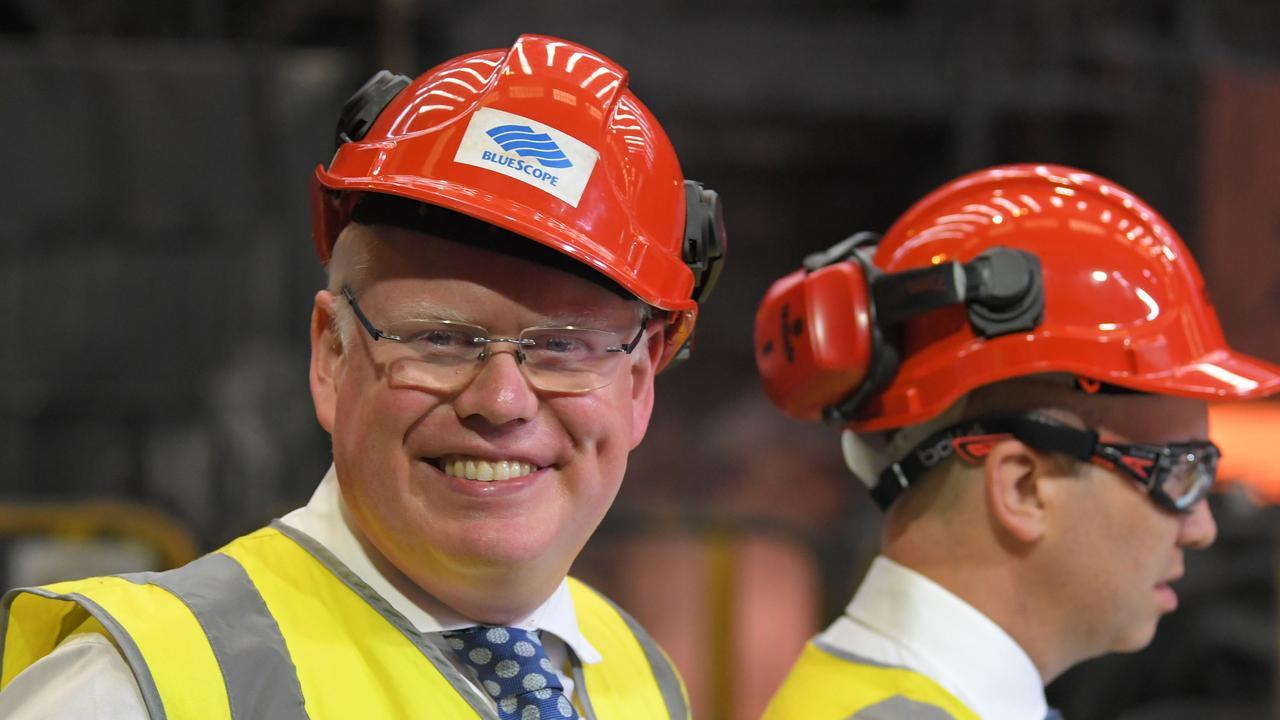 Gareth Ward and Energy Minister Matt Kean at Blue Scope Steel in Wollongong. Picture: NCA NewsWire / Simon Bullard.