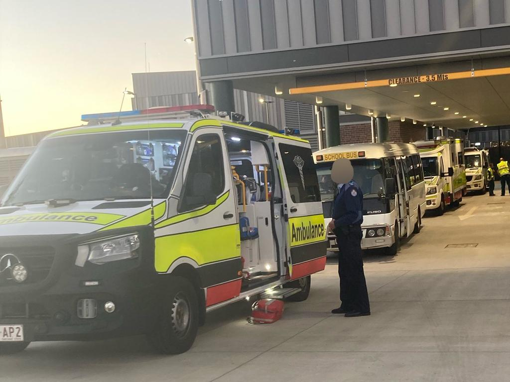 Nineteen patients have taken to Roma Hospital, including one serious child, two critical adults, and 16 stable children following the Wallumbilla bus crash. Picture: QAS