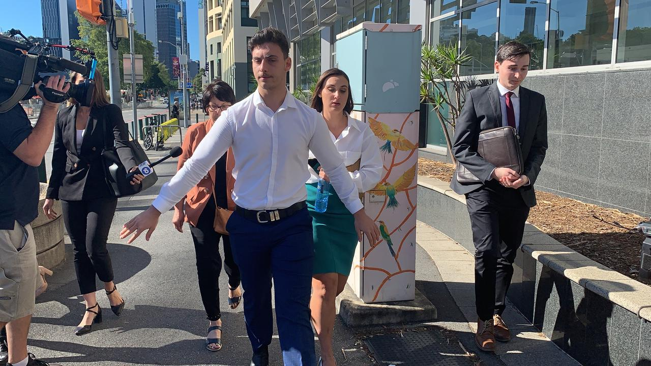Lawlor family members and supporters leave court. Picture: Patrick Billings