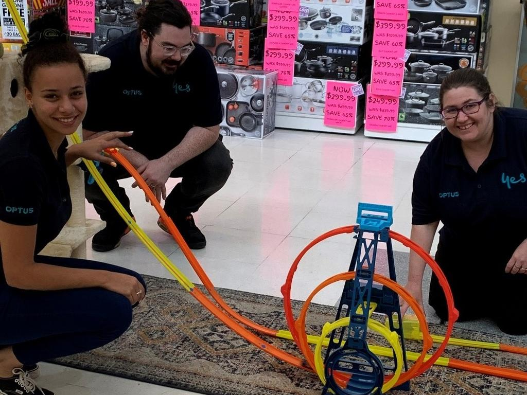 The ultimate Hot Wheels race at the new Optus Emerald store.