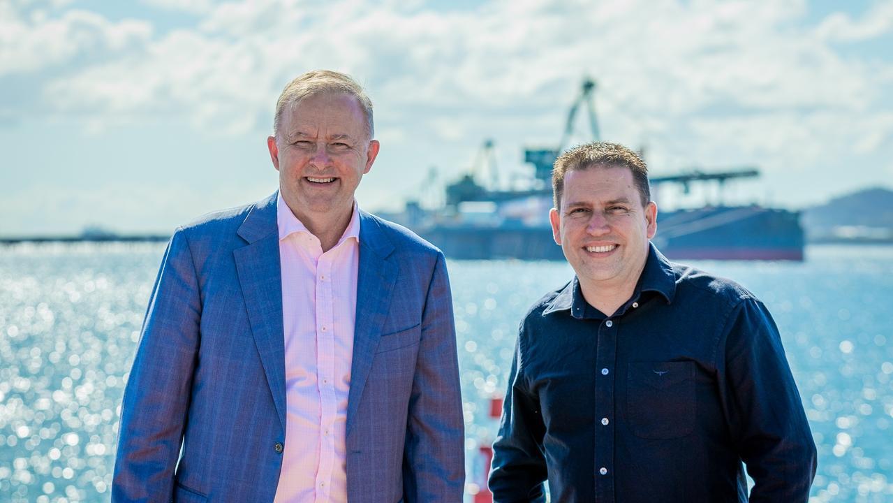 Labor Leader Anthony Albanese and Matt Burnett, Labor's candidate for Flynn.