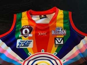 Moranbah trailblazers with LGBTQ+ guernseys for Pride Round