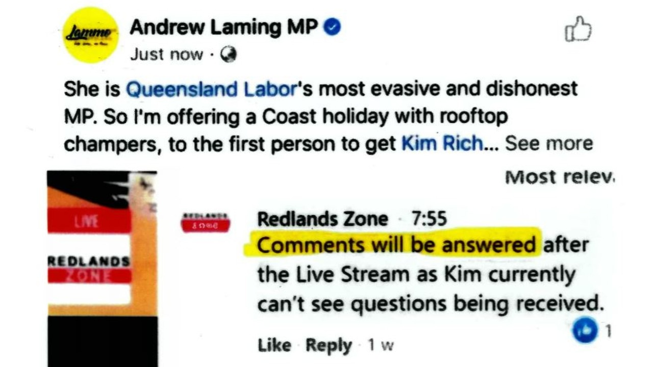 Kim Richards claims 'sustained attack' online from MP Andrew Laming.