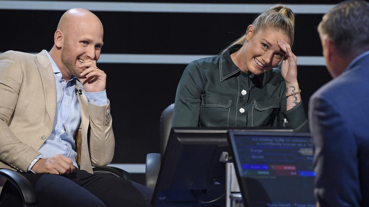 Gary Ablett Jr and AFLW star Tayla Harris on 'Who Wants to be a Millionaire?' Picture: Channel Nine