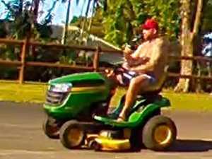 Watch the moment a shirtless man steals a mower