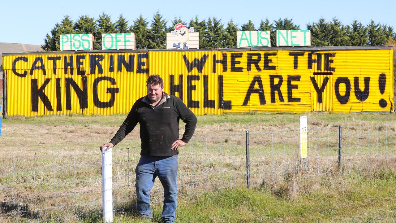 Local farmer Will Elsworth protests against the powerline. Picture: Alex Coppel