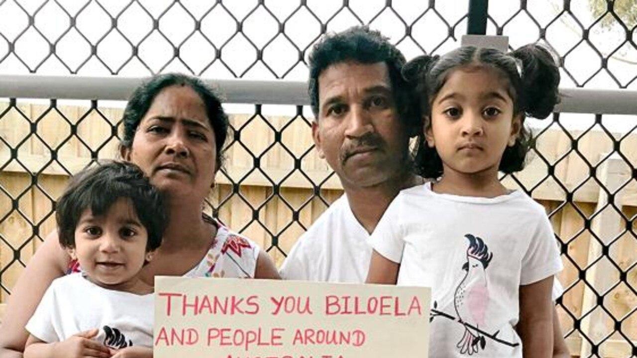NEW ACCOMMODATIONS: Tamil asylum seekers Nades, wife Priya, and their Australian-born daughters Dharuniga and Kopika.