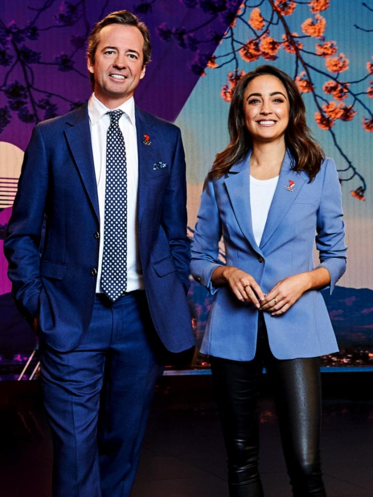 Hamish McLachlan and Abbey Gelmi for Channel Seven Olympics coverage