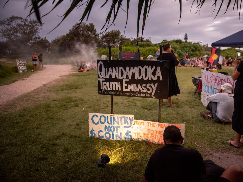 Straddie locals at the Headland Park site of proposed Whale Centre, Quandamooka Truth Embassy Stradbroke Island - Photo Supplied Stuart Quinn