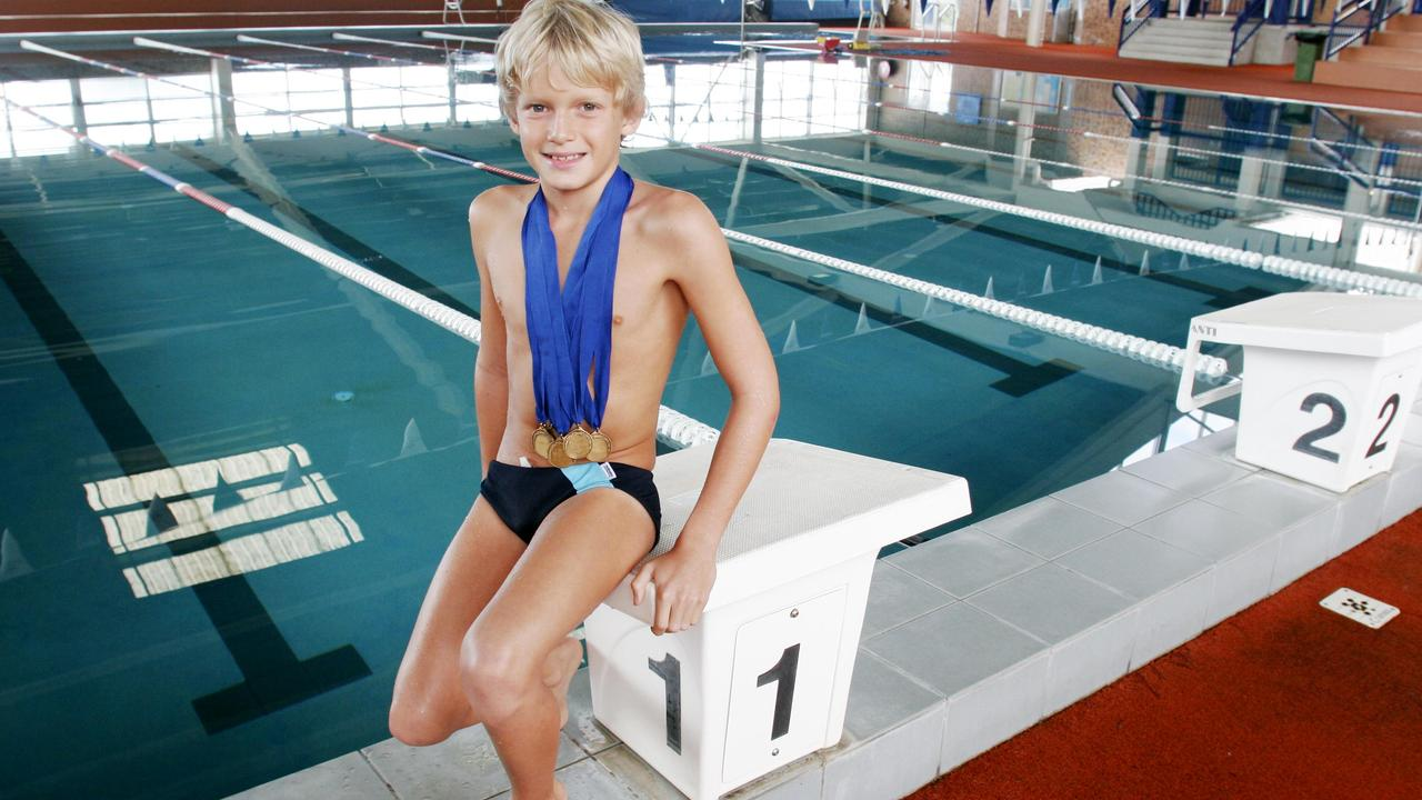A young Cody Simpson won seven gold medals in the state swimming titles in Grade Five.