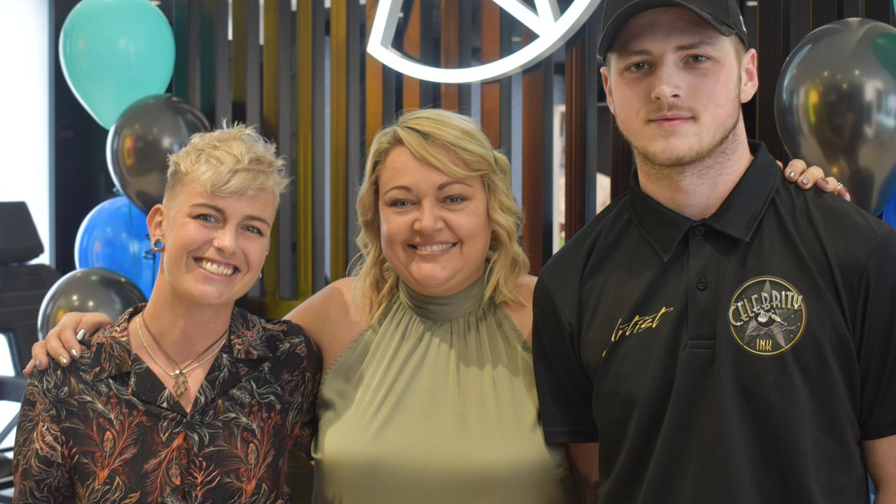Artists Becks Skinner and Rheese Wallin with franchisee Talaylin Karavolas (middle) at Celebrity Ink's VIP launch on Friday.