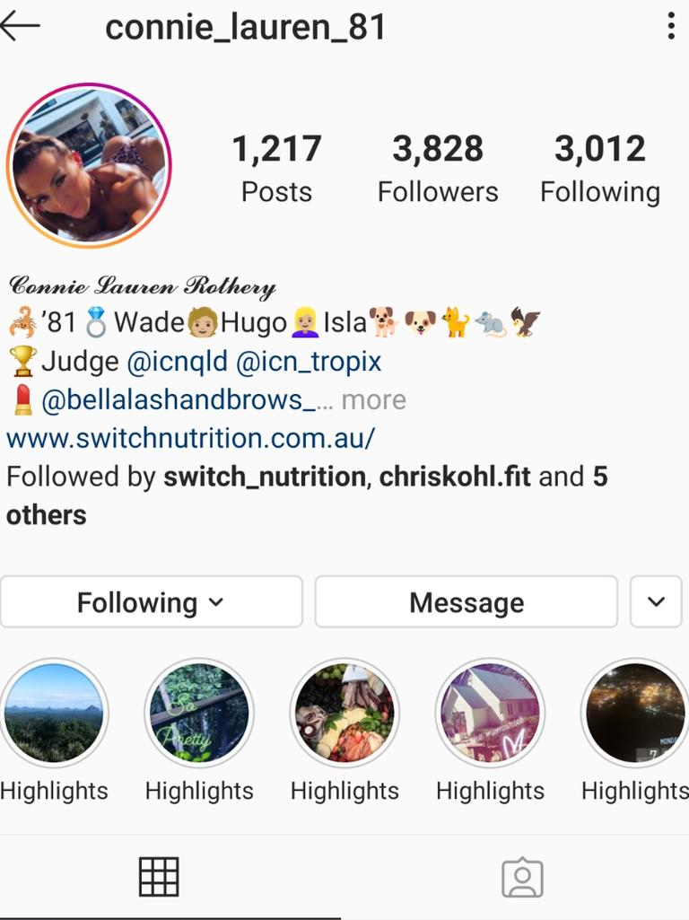 Queensland based Model and Make Up Artist Connie Rothery authentic Instagram account.