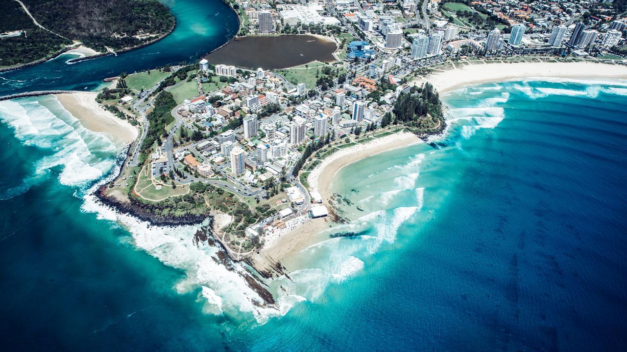 Aerial, Snapper Rocks Coolangatta. Picture: Destination Gold Coast