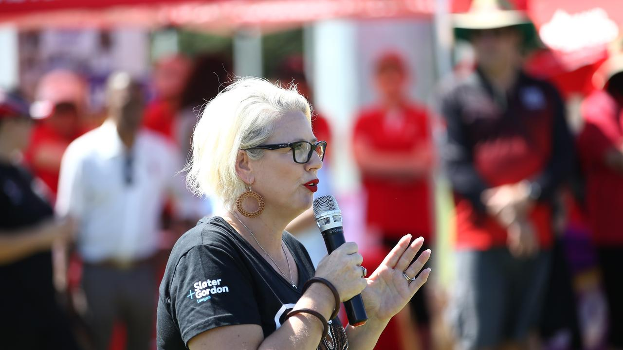 Elida Faith addresses the crowd attending the annual Cairns Labour Day March. Picture: Brendan Radke