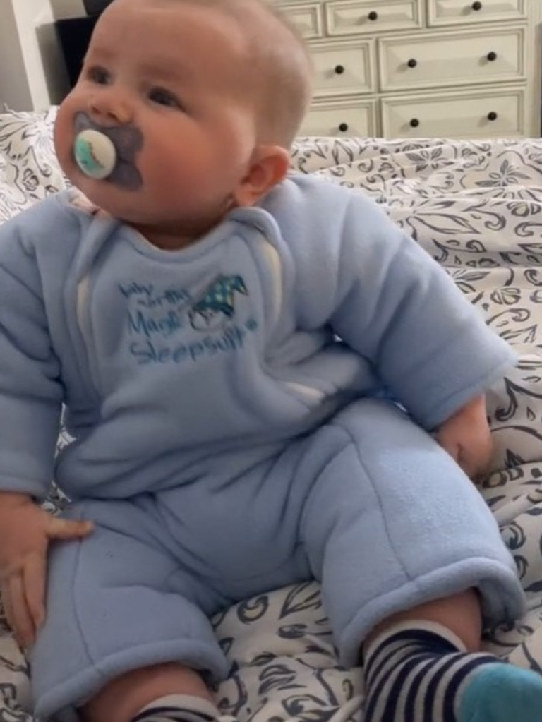 Now six months old, her son is already wearing clothing meant for 18-month-olds. Picture: TikTok.
