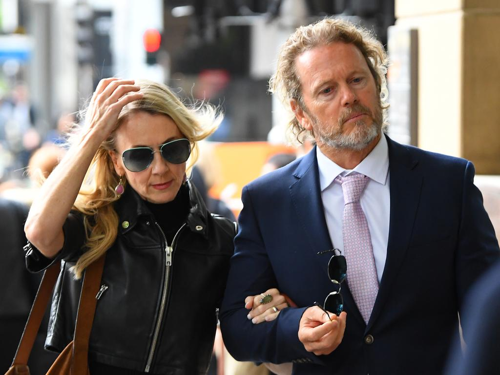 Ms Scammel with Craig McLachlan at Melbourne Magistrates Court, where ehe was acquitted last December of indecent assault against former co-stars. Picture: James Ross.