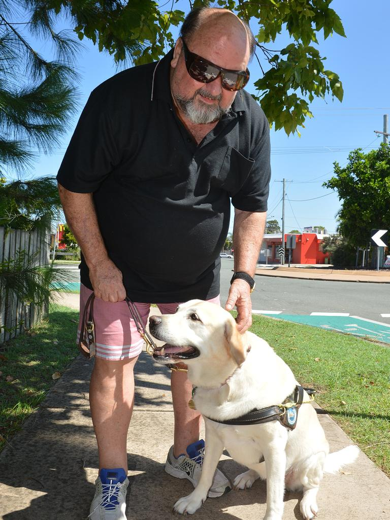 Peter Ryan and his seeing eye dog Pebbles in 2015. Picture: Warren Lynam
