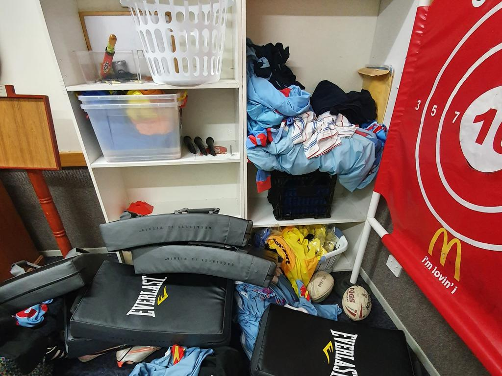 The aftermath of a break and enter at the club. Picture: Swifts Rugby League