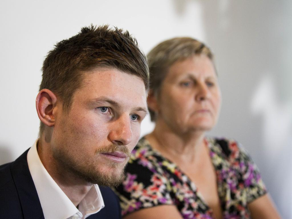 Cameron Bancroft after returning from South Africa. Picture: AAP/Tony McDonough