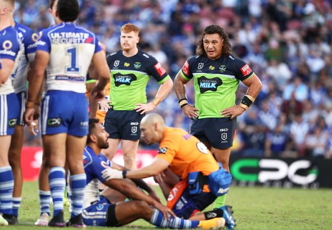 Josh Papalii looks on, soon to be sent off. Picture: Jason O'Brien - NRL Photos