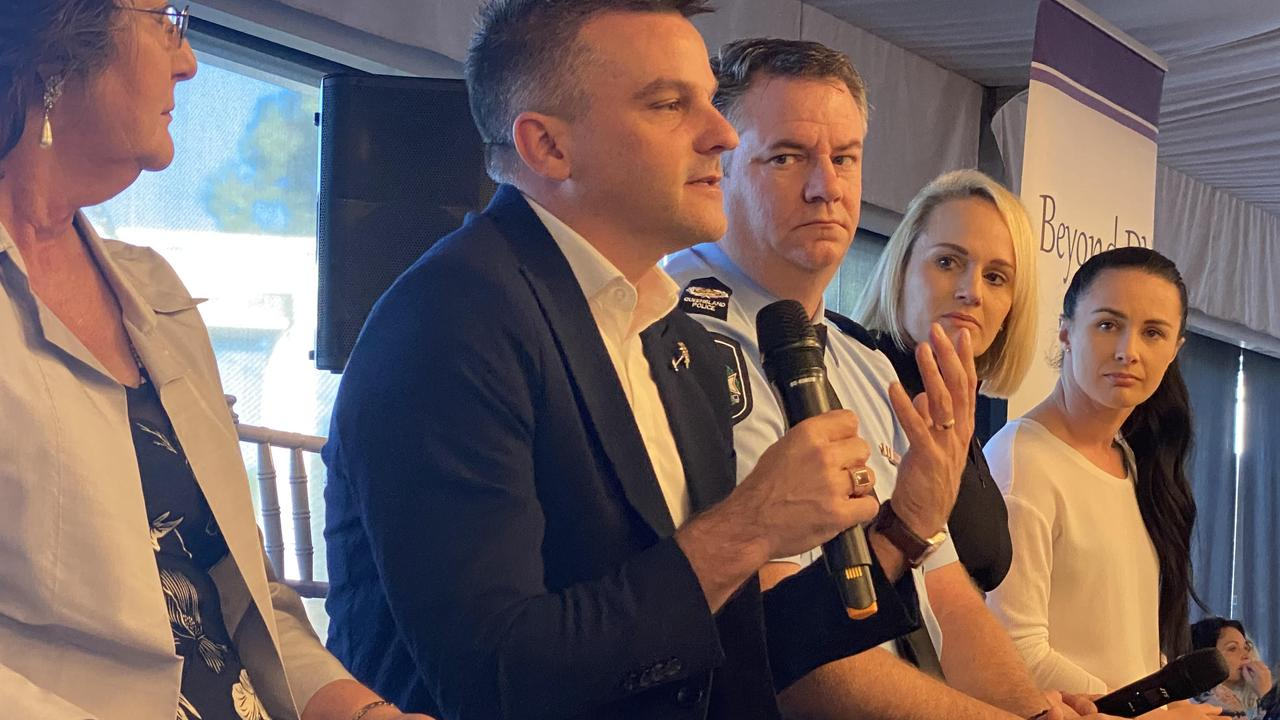 White Ribbon Australia executive director speaks at the Beyond DV fundraiser on a panel with (L-R) journalist and academic Amanda Gearing, Senior Sergeant Bernie Quinlan, and domestic violence advocates Lou Farmer and Samantha Cooper.