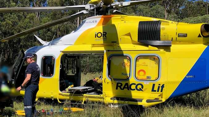 Rescue chopper airlifts motorcyclist to hospital