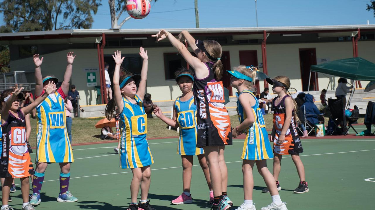Action from the first under-8 netball match between Aztecs 24 and Storm 15 at the Doris Howes courts. Picture: Gary Reid