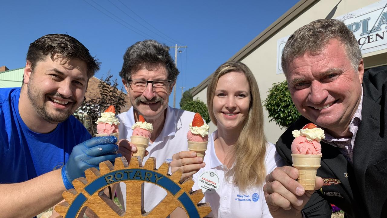 (from left) Danny Ungermann from Ungermann Brothers, Dr Bob McGregor and Katharina von Heusinger from Rotary Ipswich City, and Ipswich Show president Darren Zanow enjoy the new Ipswich Show Sundae.