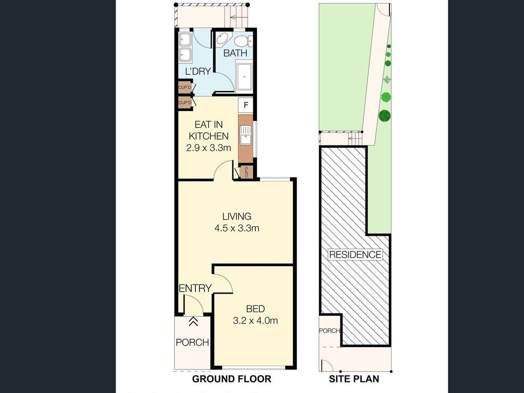 The floorplan at 26 Eton St, Campberdown.