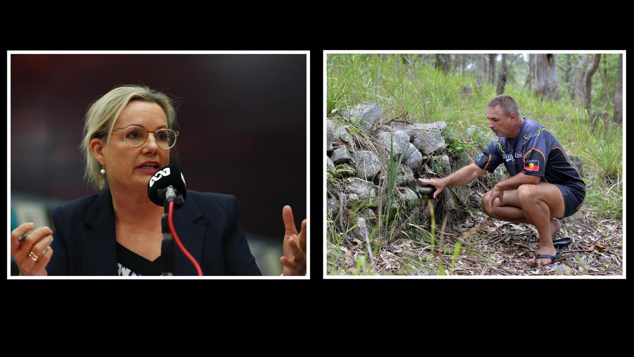 """Environment Minister Sussan Ley (left) has rejected an application for an emergency preservation declaration on the """"Gympie Pyramid"""" made by campaigners like Wit-Boooka, with her department saying the Minister is not satisfied the area is a """"significant aboriginal area"""" under the cultural heritage protection act."""