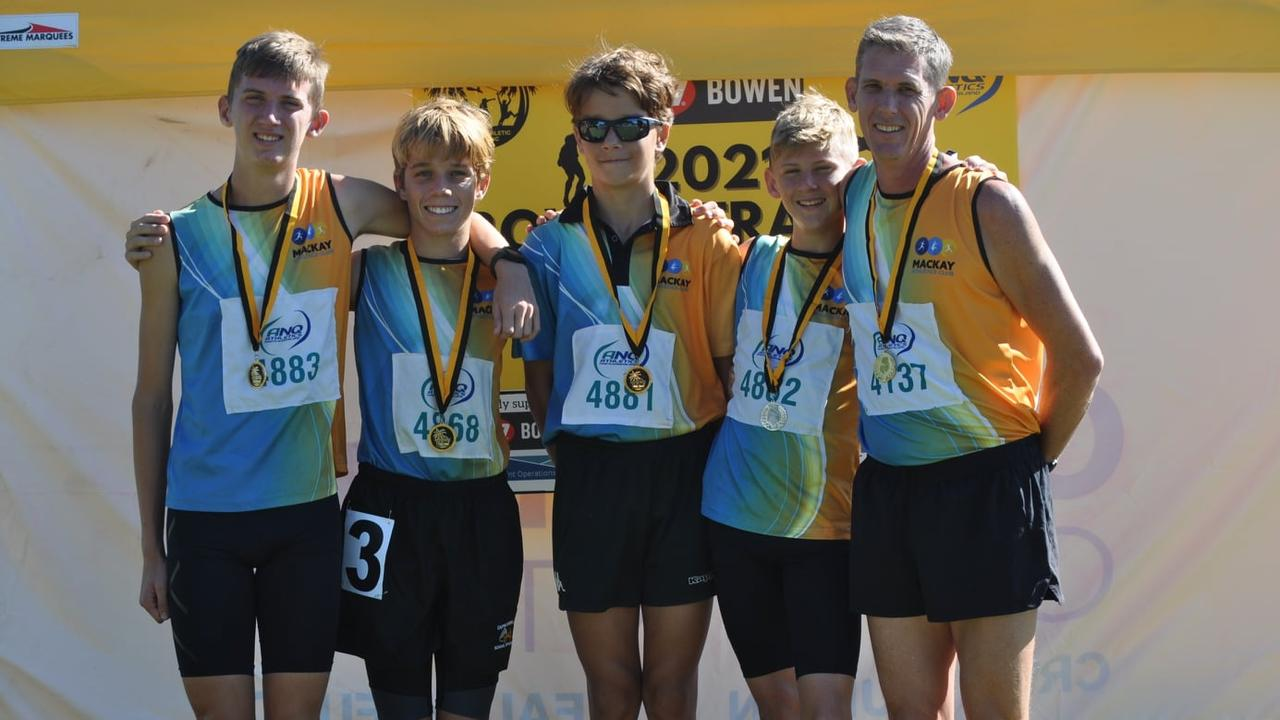 Mackay Athletics Club members (from left) Oliver Rule, Cayleb Ticehurst, Dylan Ticehurst, Toby Rule and Justin Rule. Picture: Contributed